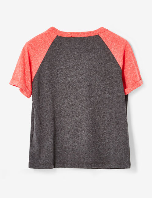 tee-shirt bicolore à message gris anthracite chiné et rouge chiné