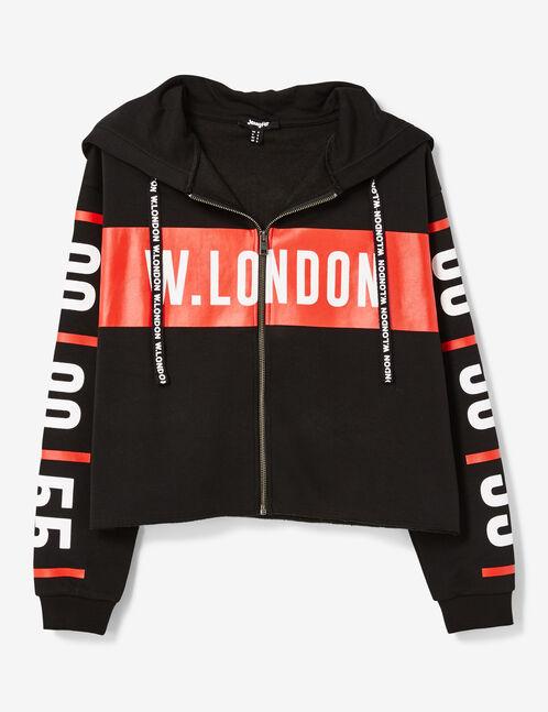 """Black """"London"""" zip-up hoodie"""