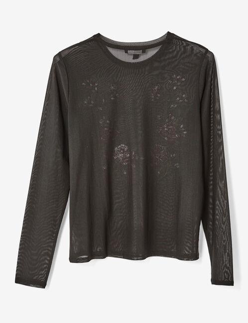 tee-shirt résille brodé noir