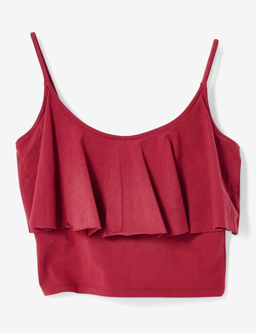 Dark red crop top with frill detail
