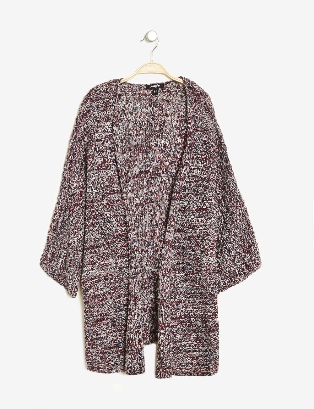 gilet kimono maille ajour e bordeaux cru et bleu marine moulin femme jennyfer. Black Bedroom Furniture Sets. Home Design Ideas