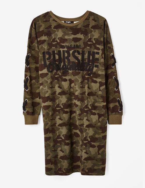 robe camouflage à message kaki