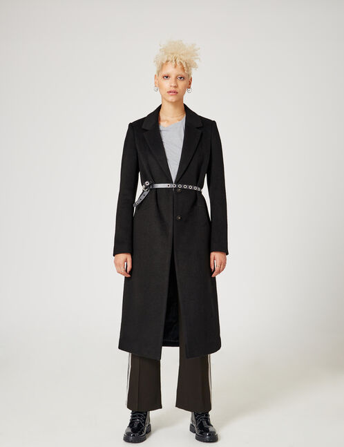 Long black coat with text design detail