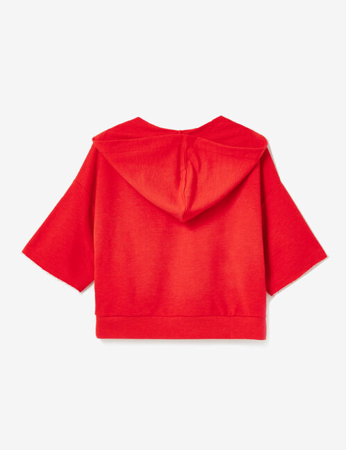 Red sweatshirt with lacing detail