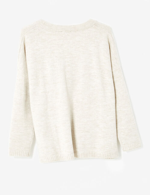 Oversized cream marl cardigan with pockets