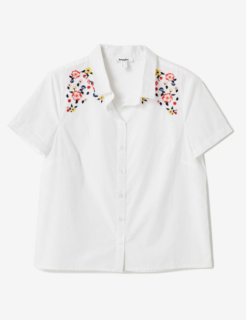 chemise avec broderies blanche