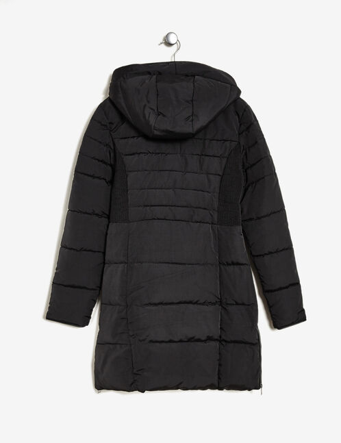 Black long hooded padded jacket