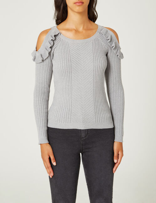Grey marl jumper with frill detail