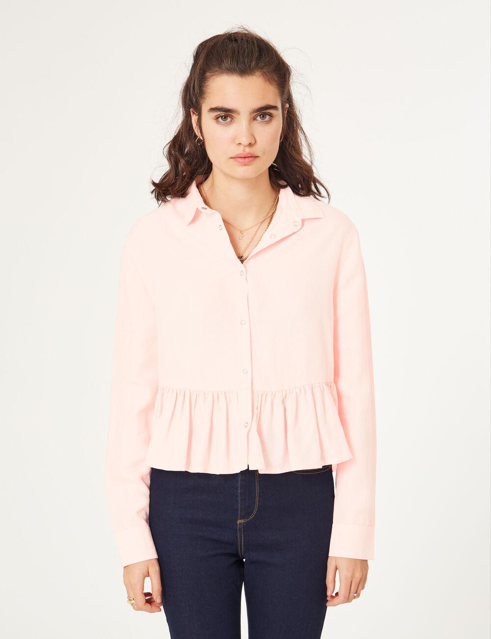 chemise courte avec volant rose clair femme jennyfer. Black Bedroom Furniture Sets. Home Design Ideas