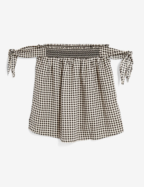 Black and white gingham strapless top with tie detail
