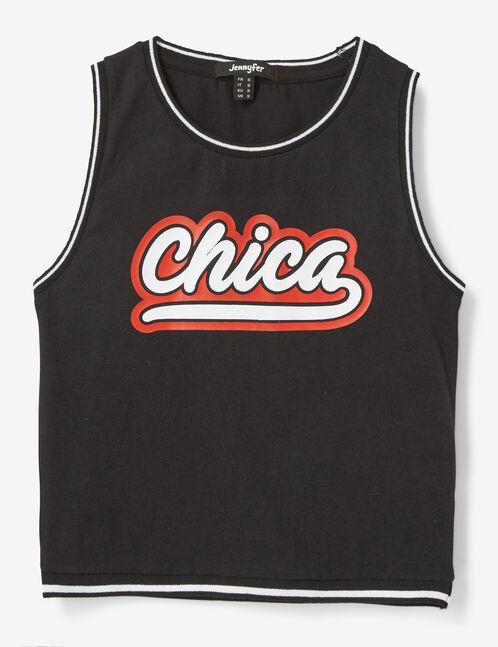 "Black ""chica"" tank top"