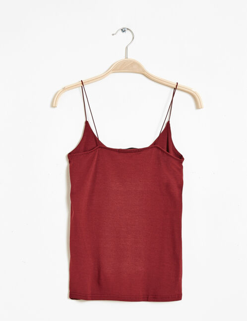 burgundy spaghetti straps tank top
