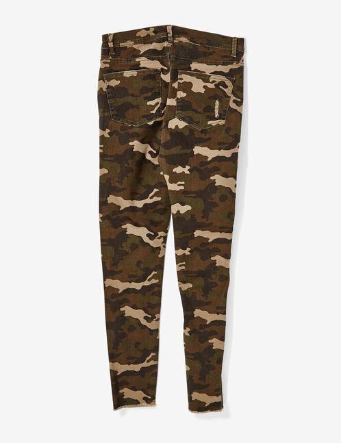 pantalon skinny à découpes camouflage kaki