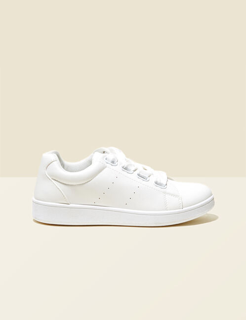 White ribbon lace trainers