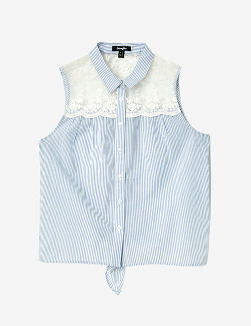 Cream and light blue tie-fastening mixed fabric shirt