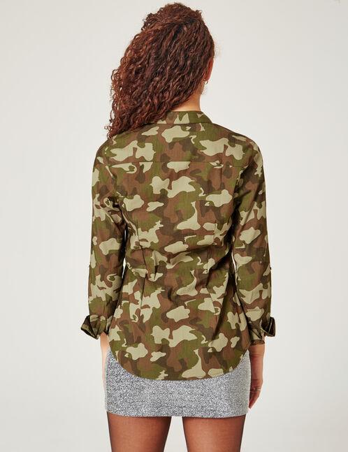 chemise camouflage cintré kaki