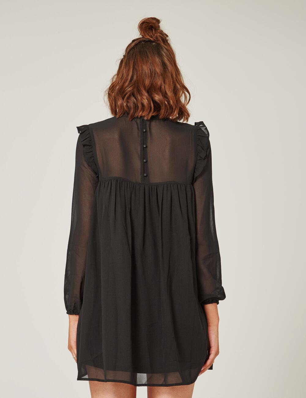 robe en mousseline brod e noir femme jennyfer. Black Bedroom Furniture Sets. Home Design Ideas