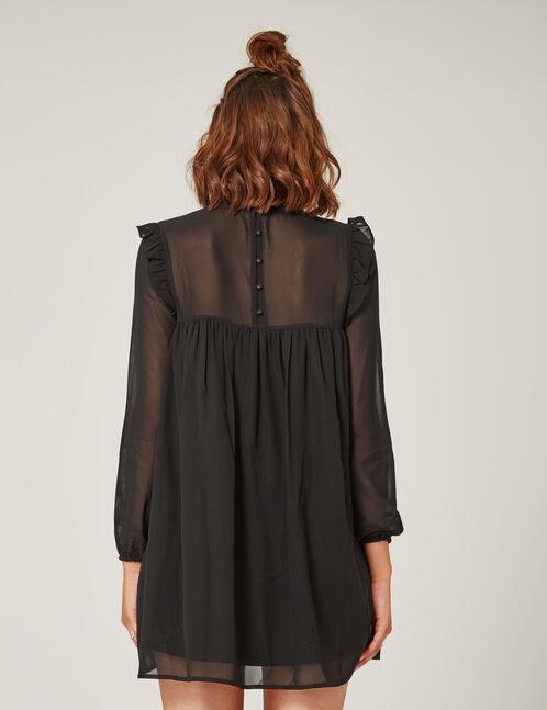 Black embroidered chiffon dress