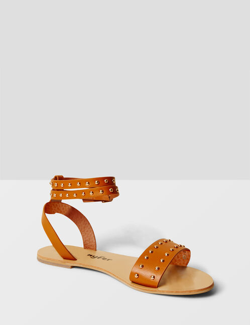 Flat camel sandals with stud detail