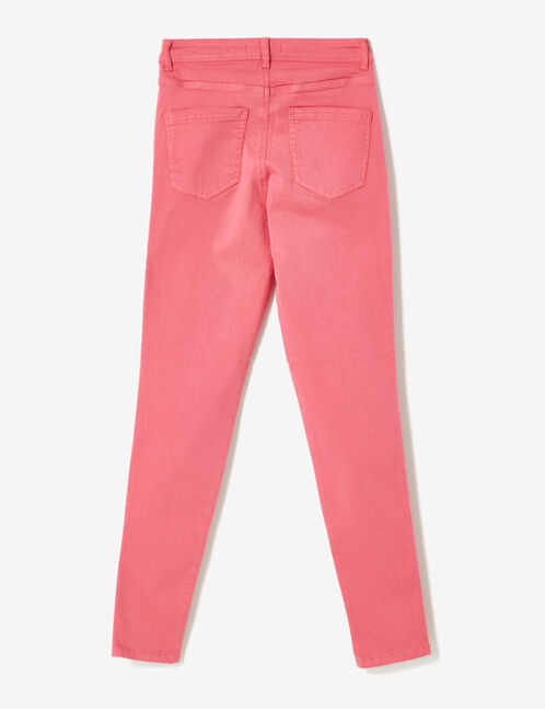 Fuchsia high-waisted ripped trousers
