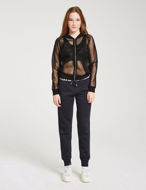 Zipped black mesh jacket