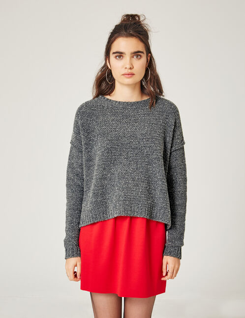 Charcoal grey marl chenille jumper with lurex detail