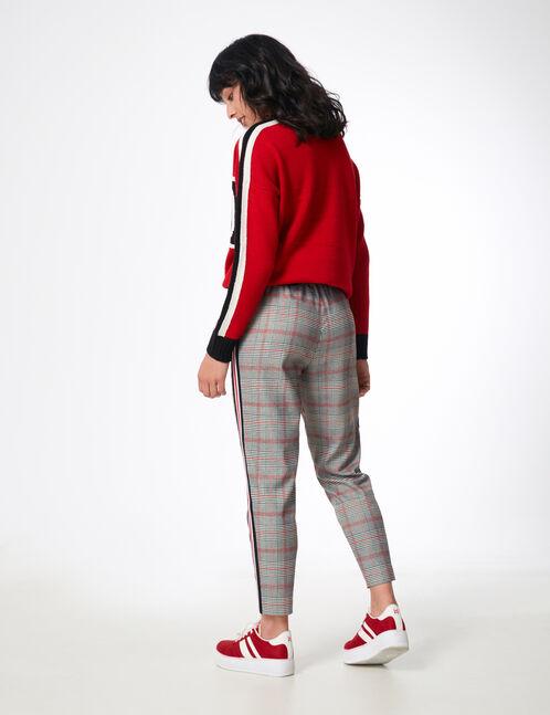 pantalon ville avec bandes gris, blanc et rouge