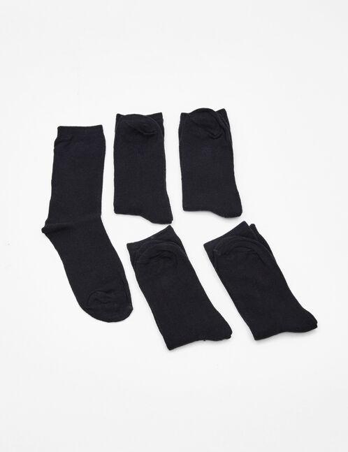 Black basic mid-length socks