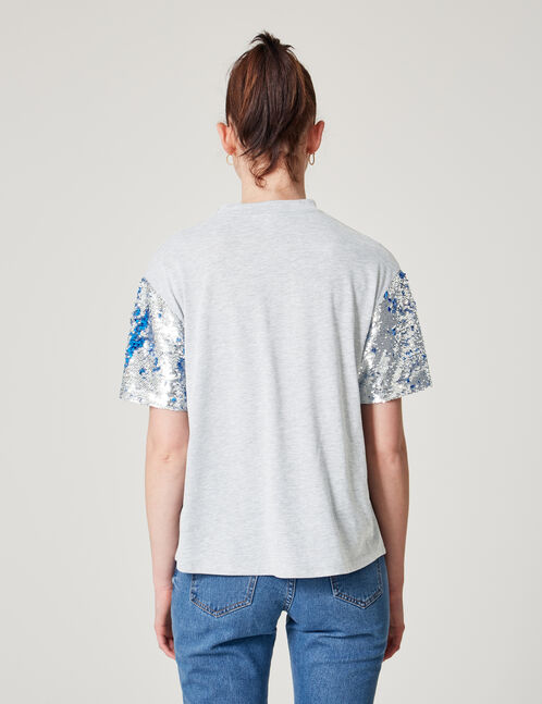 tee-shirt manches sequins gris chiné
