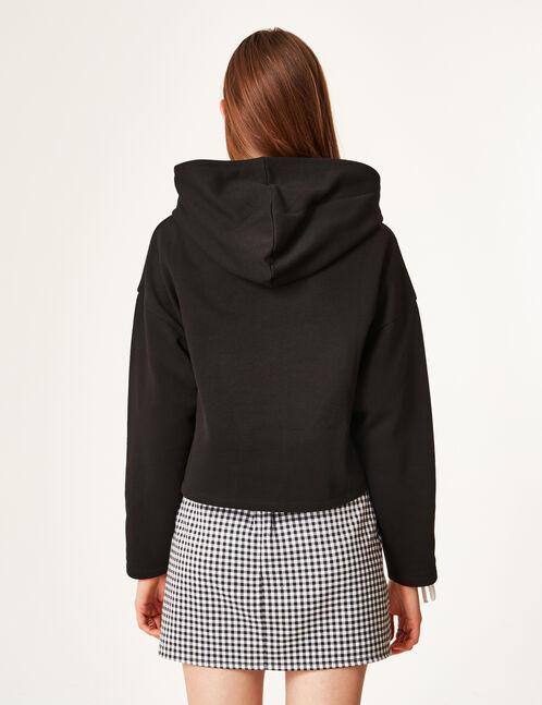 Black hoodie with sleeve lacing detail