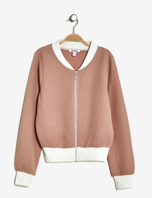 veste texturée zippée rose clair
