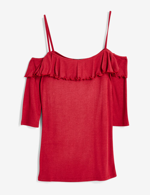 Dark red top with frill detail