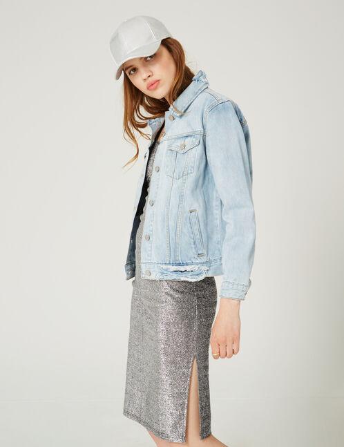 veste en jean destroy bleu clair