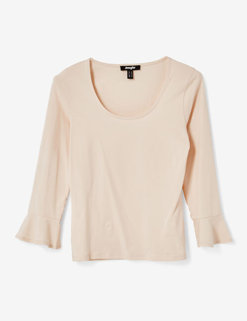 Nude top with pagoda sleeves