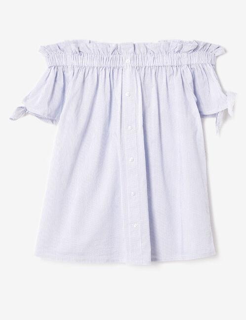 blouse épaules dénudées écrue et bleue