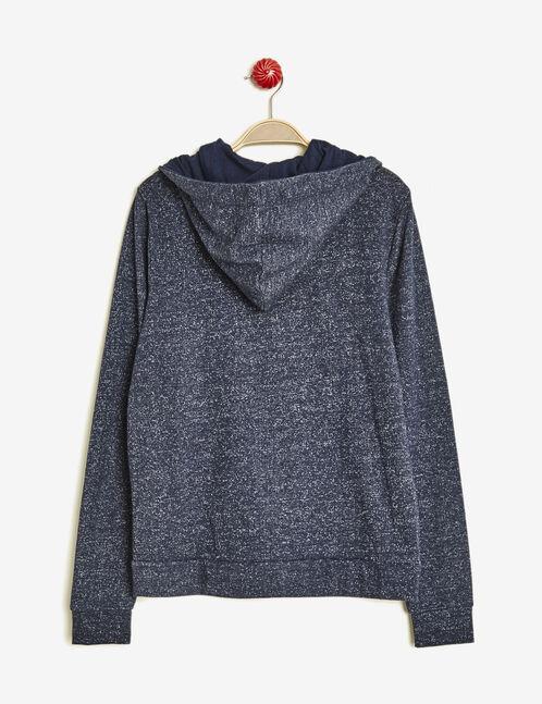 Indigo marl basic zipped sweatshirt