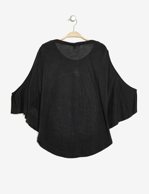 tee-shirt motif tête de mort noir