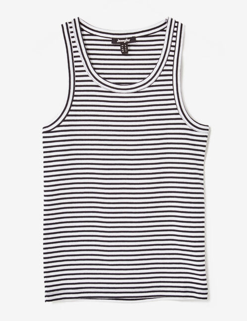 Basic black and white striped tank top