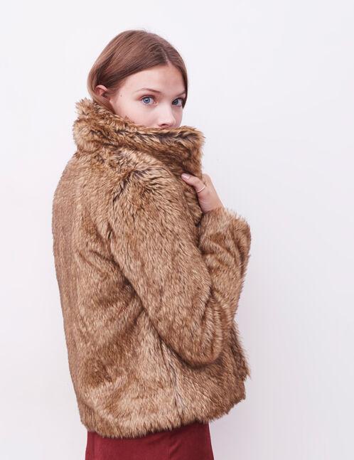manteau fausse fourrure camel