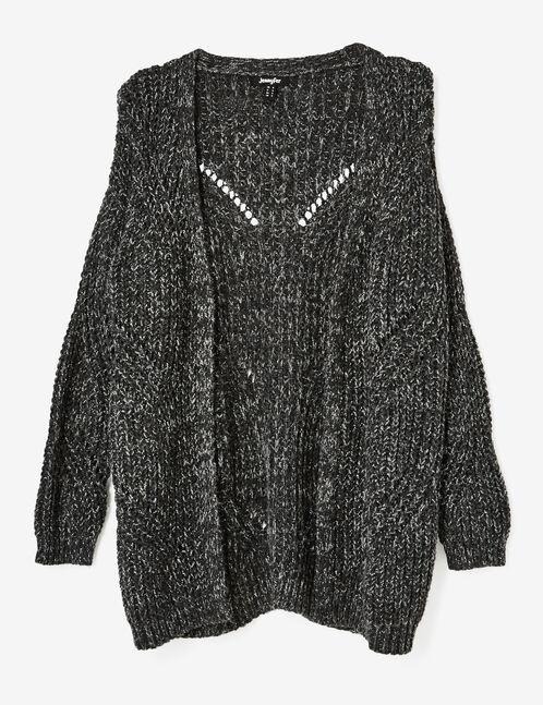 Charcoal grey marl openwork knit cardigan