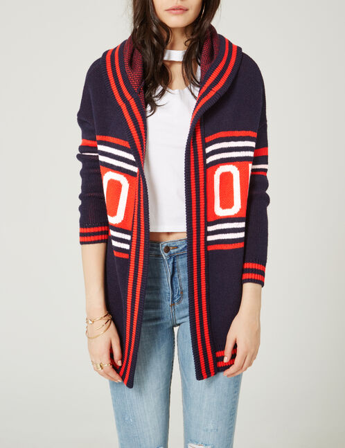 Navy blue, red and cream hooded cardigan
