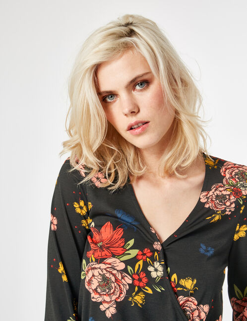 Black floral crossover t-shirt