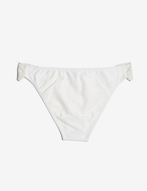 Cream bikini briefs with lace detail