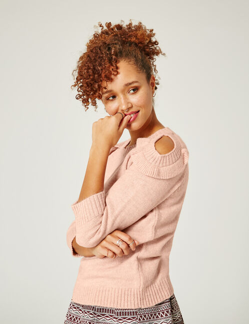 Light pink jumper with cut-out shoulders