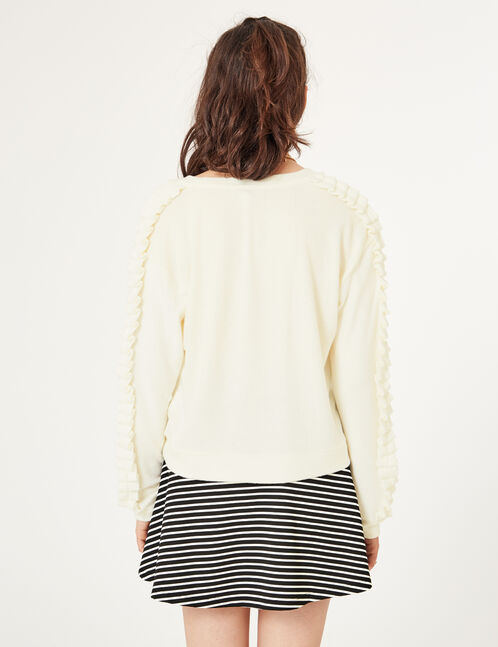 Cream frilled-sleeve top