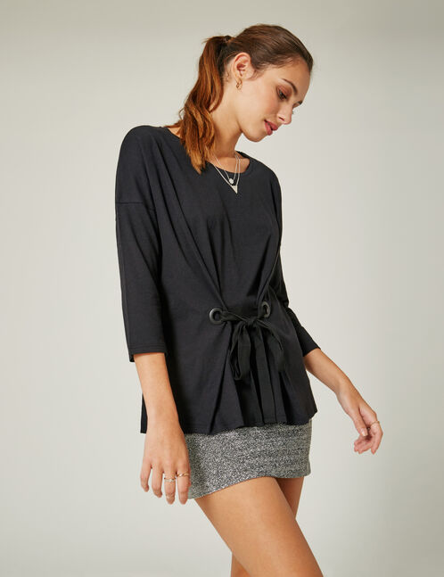 Black tied corset-effect top