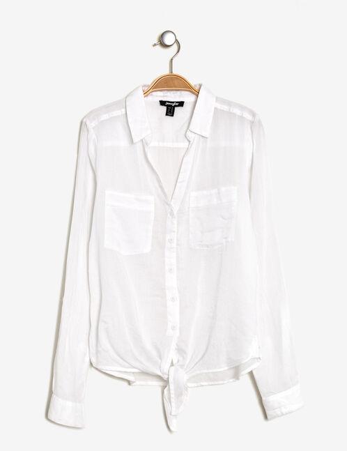 White tie-fastening cotton shirt