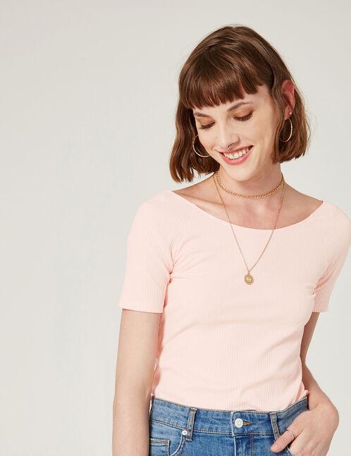 tee-shirt  avec noeud dos rose clair