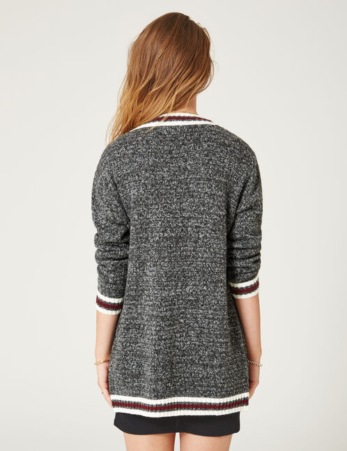 Long charcoal grey marl cardigan with striped detail