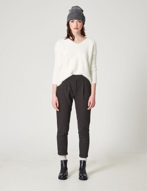 Black sparkly crêpe trousers